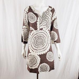 Boden Dress Sz 6 Mandala Print Vneck Brown Cream